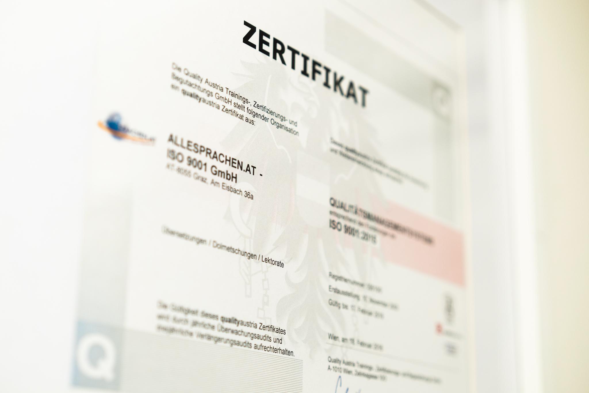 ALLESPRACHEN Zertifikate