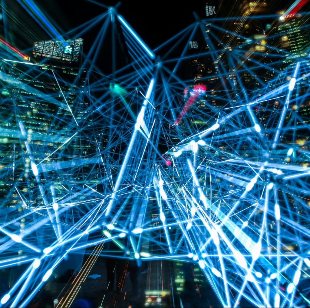 Netzwerk mit Licht dargestellt