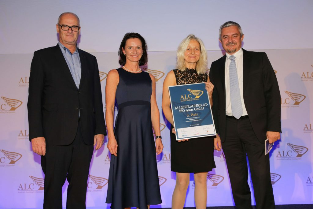 ALLESPRACHEN erzielte den 2 . Platz beim Ranking der Austria's Leading Companies der erfolgreichsten steirischen Betriebe.