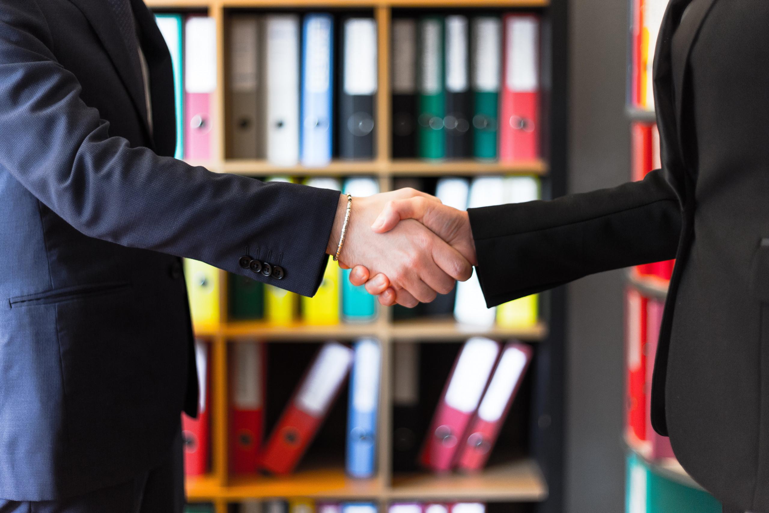 Zwei Geschäftsmänner begrüßen sich mit Handschlag