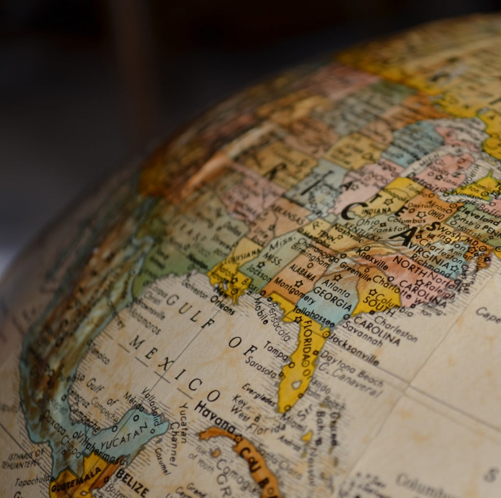 Globus mit Zoom auf Mexico