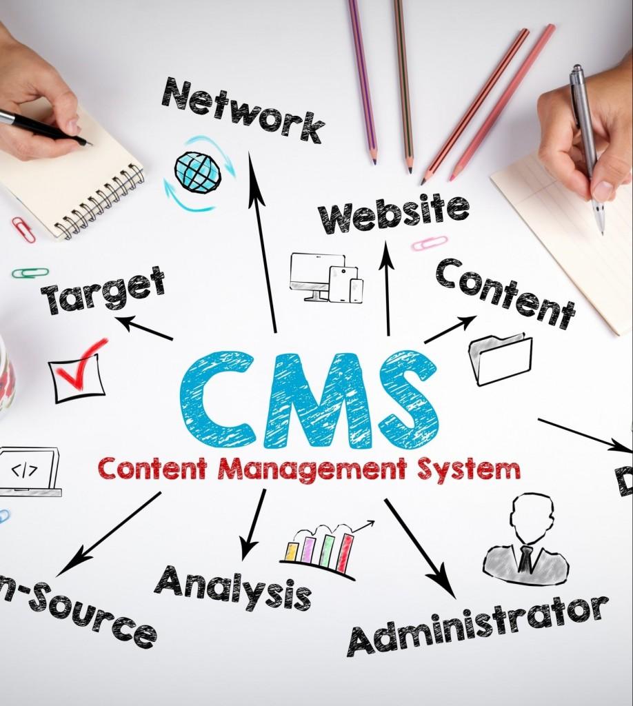 Auf einem Blatt Papier wird eine Mind Map zum Thema CMS erstellt.