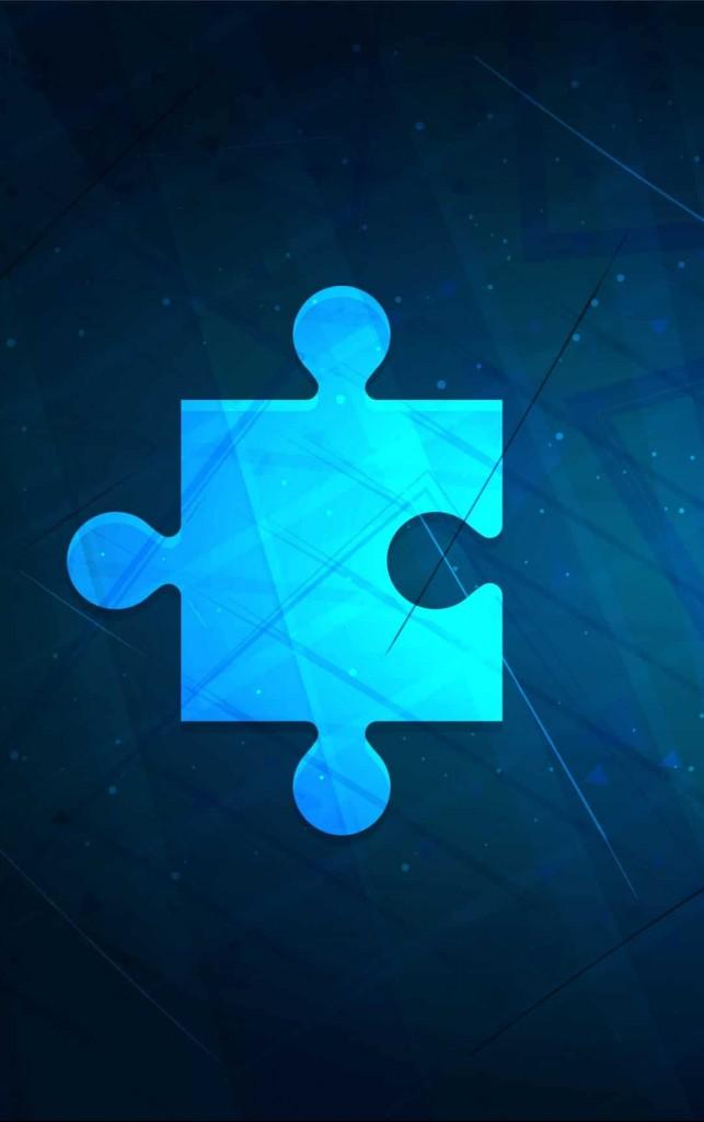 Ein leuchtendes Puzzleteil auf blauem Hintergrund.