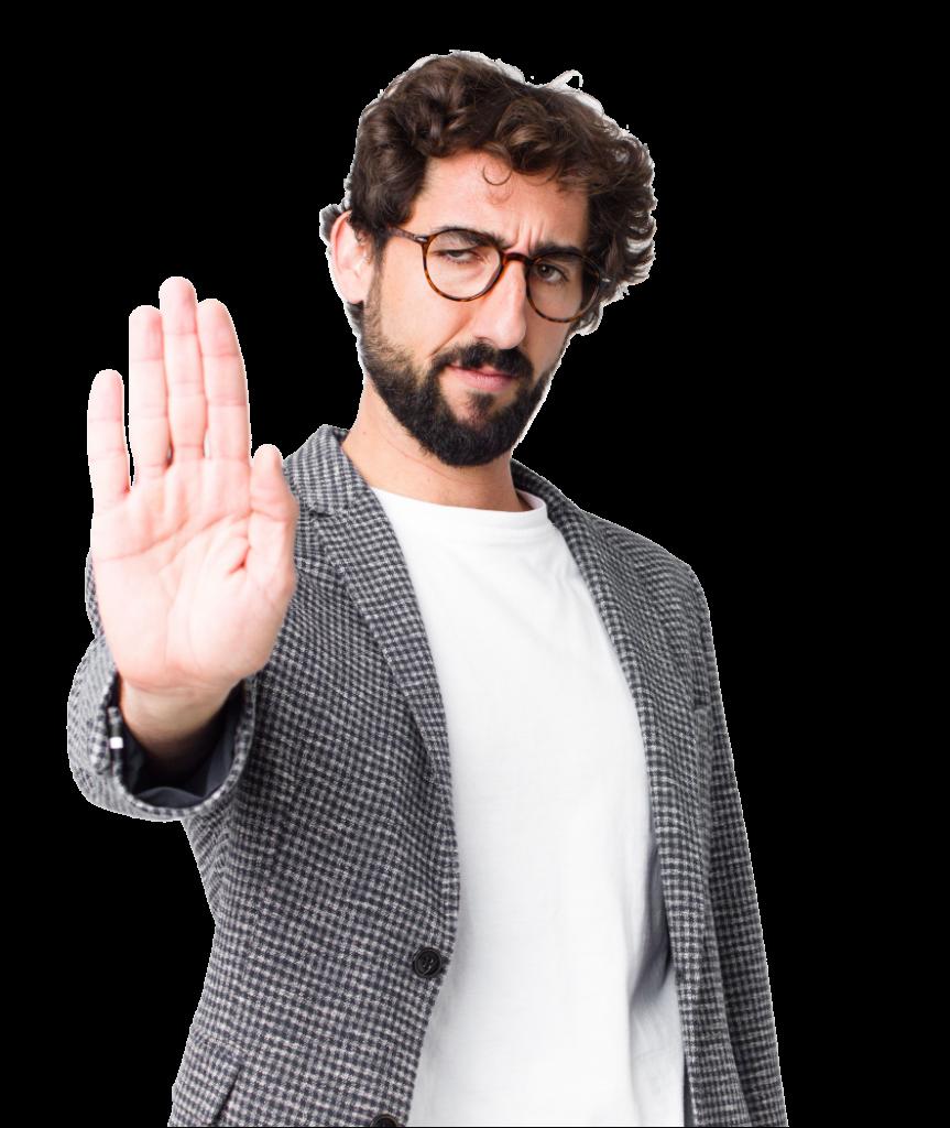 Ein Mann macht mit der Hand ein Stopp Zeichen